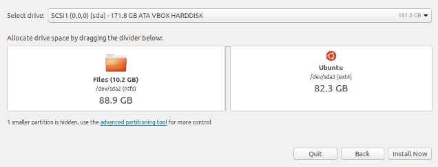 Ubuntu partition selection