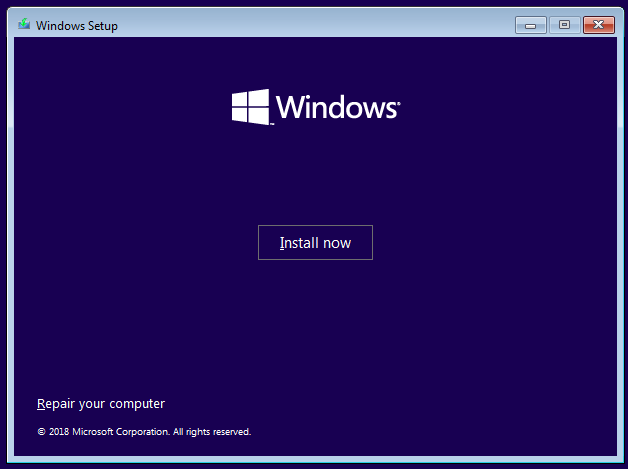 Windows 10 Install Now window